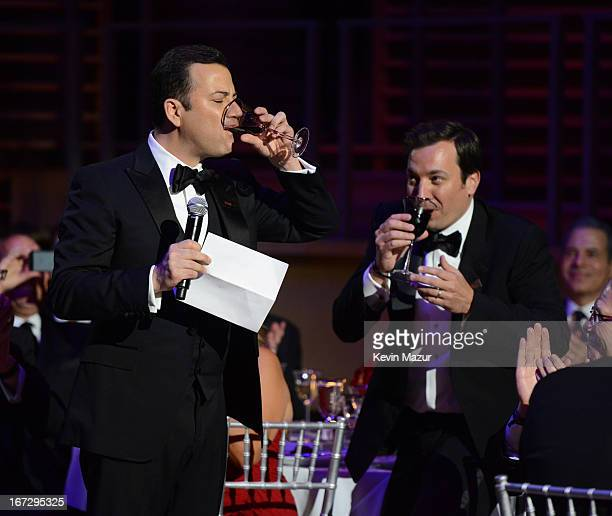 Jimmy Fallon and Jimmy Kimmel attend TIME 100 Gala TIME'S 100 Most Influential People In The World at Jazz at Lincoln Center on April 23 2013 in New...