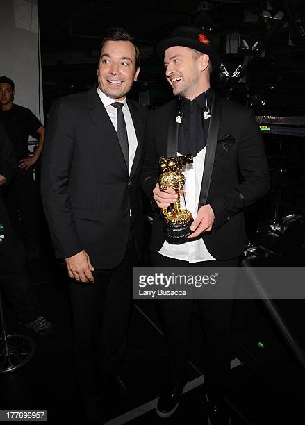 Jimmy Fallon and Justin Timberlake attend the 2013 MTV Video Music Awards at the Barclays Center on August 25 2013 in the Brooklyn borough of New...