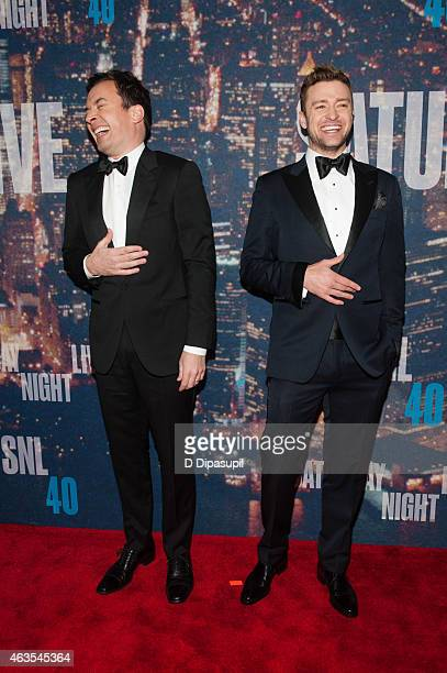 Jimmy Fallon and Justin Timberlake attend the SNL 40th Anniversary Celebration at Rockefeller Plaza on February 15 2015 in New York City