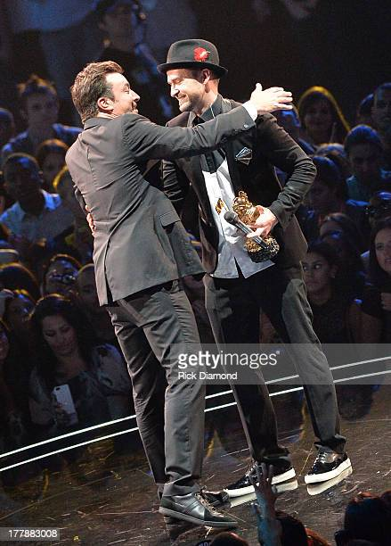 Jimmy Fallon and Justin Timberlake onstage during the 2013 MTV Video Music Awards at the Barclays Center on August 25 2013 in the Brooklyn borough of...
