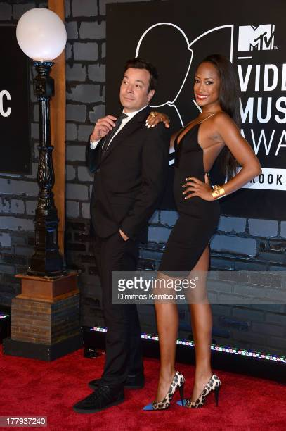 Jimmy Fallon and Keenyah Hill attends the 2013 MTV Video Music Awards at the Barclays Center on August 25 2013 in the Brooklyn borough of New York...
