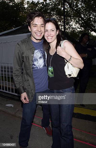 Jimmy Fallon and MaryLouise Parker during MTV's Rock and Comedy Concert Backstage at Battery Park in New York City New York United States