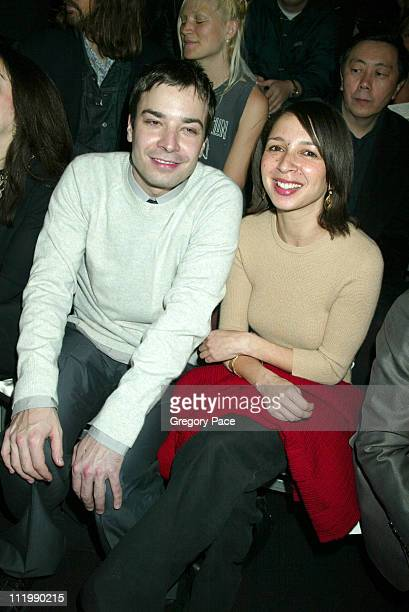 Jimmy Fallon and Maya Rudolph during Marc Jacobs 2003 Fall Collection attendees at NY State Armory in New York NY United States
