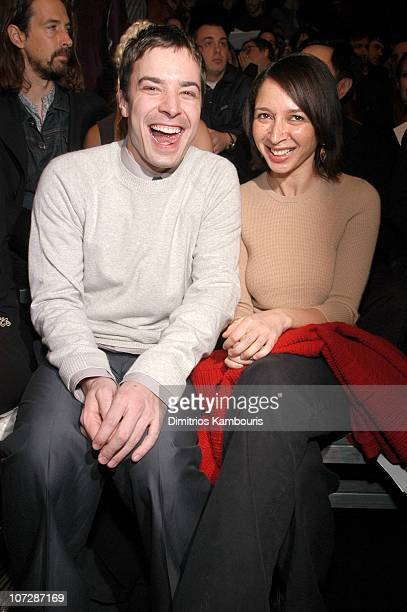 Jimmy Fallon and Maya Rudolph during MercedesBenz Fashion Week Fall 2003 Collections Marc Jacobs Front Row and Backstage at New York State Armory in...