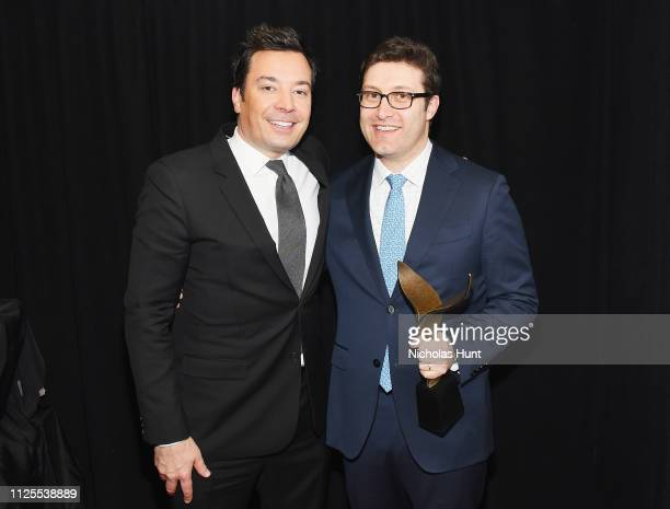 Jimmy Fallon and Michael Koman pose backstage during the 71st Annual Writers Guild Awards New York ceremony at Edison Ballroom on February 17 2019 in...