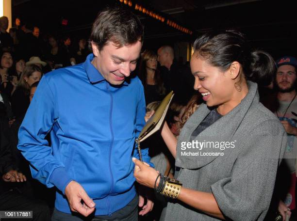 Jimmy Fallon and Rosario Dawson during Olympus Fashion Week Spring 2007 Y3 Front Row at Pier 40 in New York City New York United States