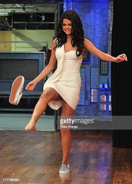 Jimmy Fallon and Selena Gomez play a game of 'Shoe Golf' during a taping of 'Late Night With Jimmy Fallon' at Rockefeller Center on June 23 2011 in...