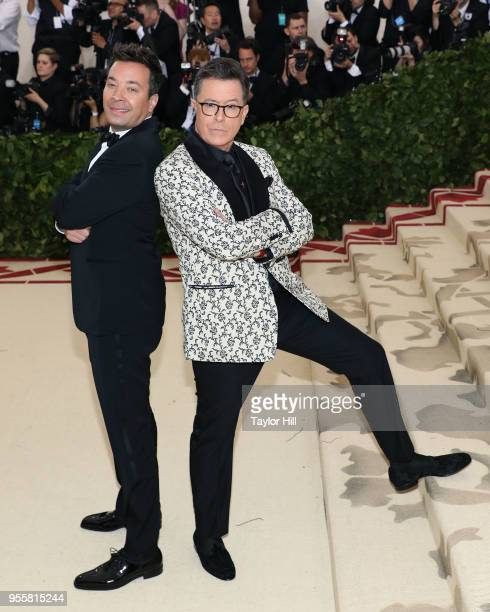 Jimmy Fallon and Stephen Colbert attend Heavenly Bodies Fashion the Catholic Imagination the 2018 Costume Institute Benefit at Metropolitan Museum of...