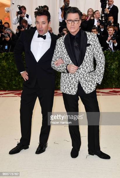 Jimmy Fallon and Stephen Colbert attend the Heavenly Bodies Fashion The Catholic Imagination Costume Institute Gala at The Metropolitan Museum of Art...