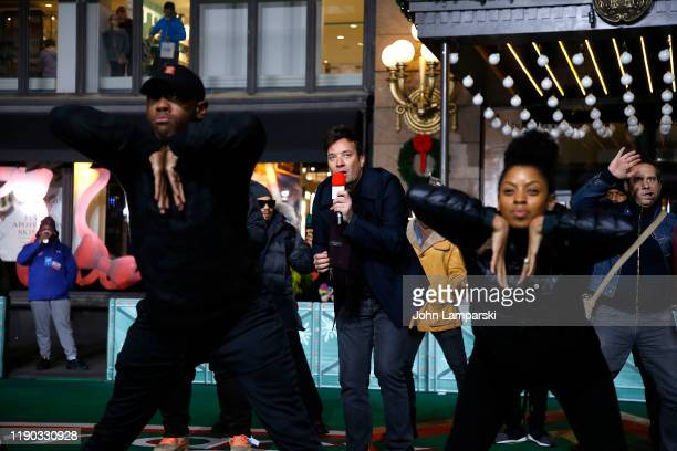 Jimmy Fallon and The Roots perform during the 93rd Annual Macy's Thanksgiving Day Parade rehearsals at Macy's Herald Square on November 26 2019 in...