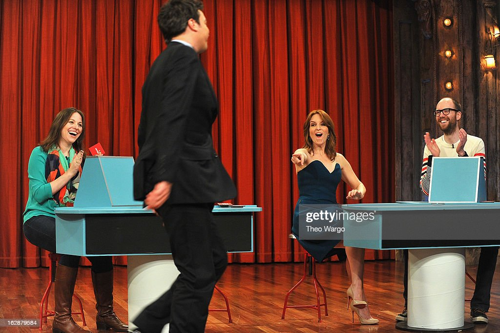Jimmy Fallon and Tina Fey during a taping of 'Late Night With Jimmy Fallon'>> at Rockefeller Center on February 28, 2013 in New York City.