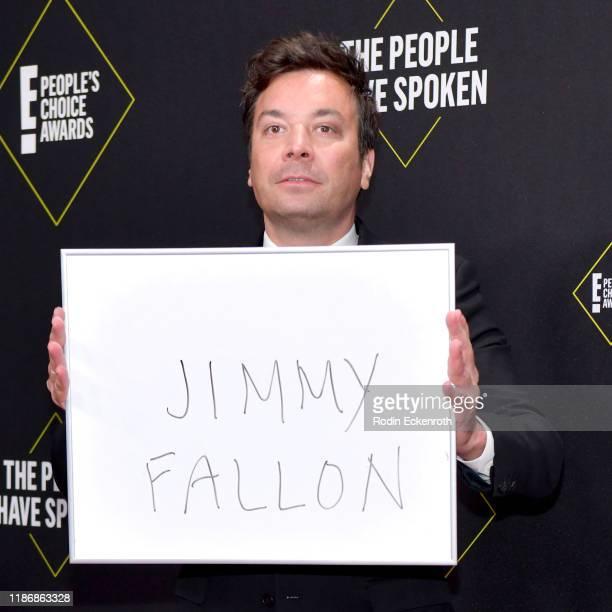 Jimmy Fallon attends the 2019 E People's Choice Awards at Barker Hangar on November 10 2019 in Santa Monica California