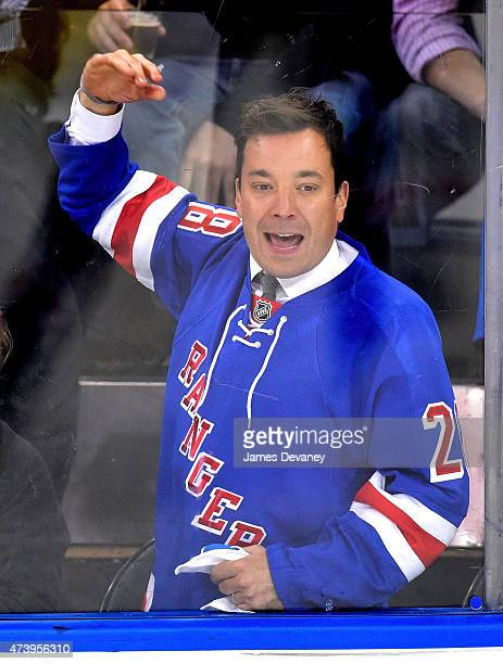 Jimmy Fallon attends the Tampa Bay Lightning vs New York Rangers playoff game at Madison Square Garden on May 18, 2015 in New York City.