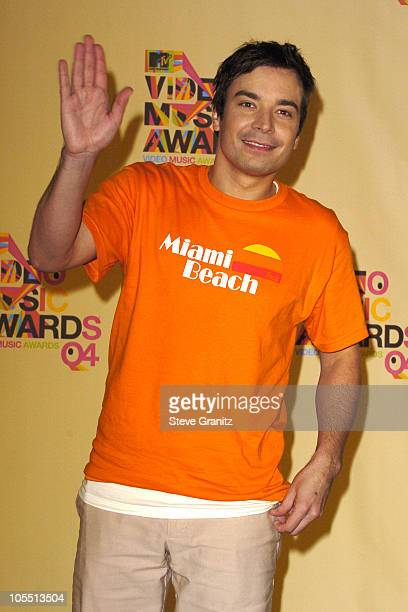 Jimmy Fallon during 2004 MTV Video Music Awards Press Room at American Airlines Arena in Miami Florida United States