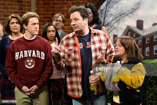 LIVE Jimmy Fallon Episode 1722 Pictured Alex Moffat as a student Jimmy Fallon as Sully Rachel Dratch as Denise during Sully Denise sketch on April 15...