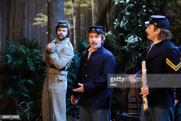 LIVE Jimmy Fallon Episode 1722 Pictured Harry Styles Beck Bennett and Jimmy Fallon as soldiers during the Civil War Soldiers sketch on April 15 2017