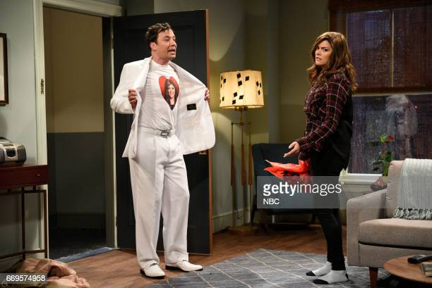 LIVE 'Jimmy Fallon' Episode 1722 Pictured Jimmy Fallon as Doug Cecily Strong as Jen during 'Take Me Back' sketch on April 15 2017