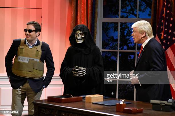 LIVE Jimmy Fallon Episode 1722 Pictured Jimmy Fallon as Jared Kushner Grim Reaper as Steve Bannon and Alec Baldwin as President Donald Trump during...