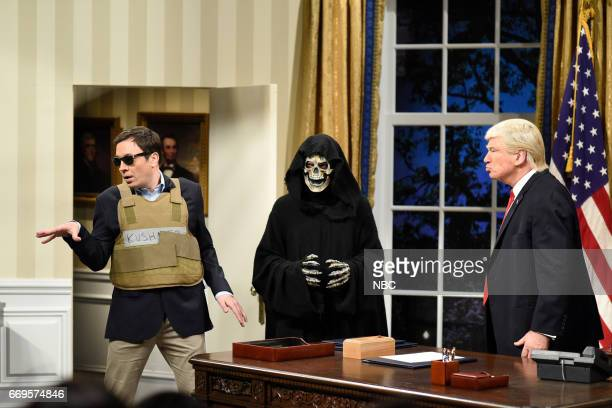 LIVE 'Jimmy Fallon' Episode 1722 Pictured Jimmy Fallon as Jared Kushner Grim Reaper as Steve Bannon and Alec Baldwin as President Donald Trump during...