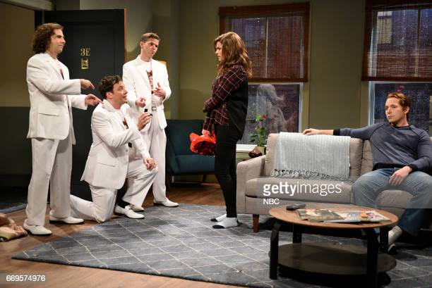 LIVE 'Jimmy Fallon' Episode 1722 Pictured Kyle Mooney as a singer Jimmy Fallon as Doug Mikey Day as a singer Cecily Strong as Jen and Beck Bennett...