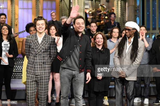 LIVE 'Jimmy Fallon' Episode 1722 Pictured musical guest Harry Styles host Jimmy Fallon guest Rachel Dratch and Nile Rodgers during 'Goodnights...