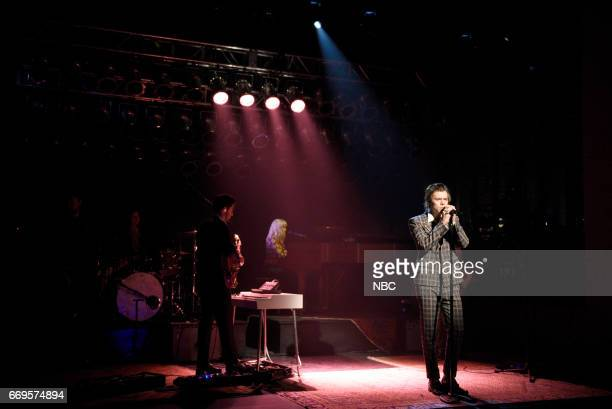 LIVE 'Jimmy Fallon' Episode 1722 Pictured Musical guest Harry Styles performs 'Sign of the Times' on April 15 2017