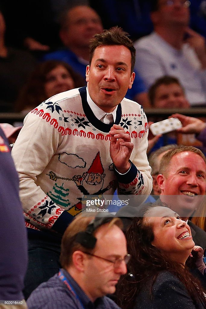 Jimmy Fallon host of the Tonight Show with Jimmy Fallon attends the agme between the Duke Blue Devils and the Utah Utes during the Ameritas Insurance Classic at Madison Square Garden on December 19, 2015 in New York City.