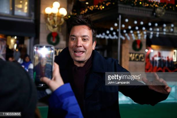 Jimmy Fallon interacts with guests during the 93rd Annual Macy's Thanksgiving Day Parade rehearsals at Macy's Herald Square on November 26 2019 in...