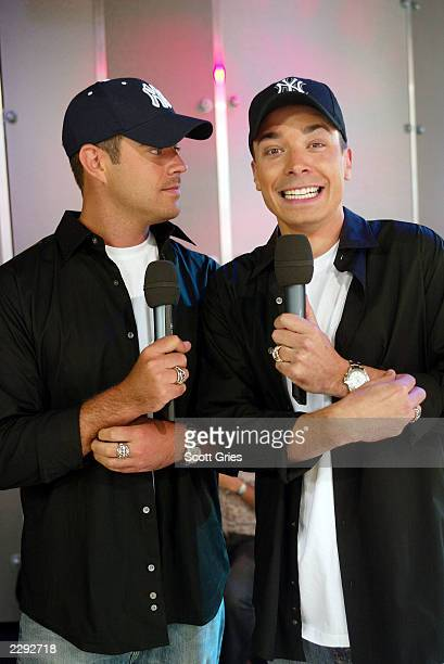 Jimmy Fallon jokes with and dresses identical to host Carson Daly on TRL at the MTV Studios in New York City Jimmy will be hosting this years Video...