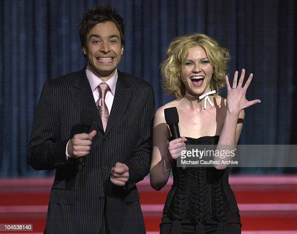 Jimmy Fallon Kirsten Dunst during 2001 MTV Movie Awards Show at Shrine Auditorium in Los Angeles California United States