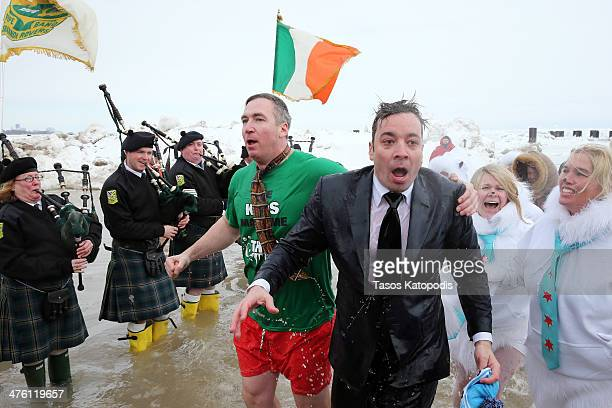Jimmy Fallon participates in the Chicago Polar Plunge 2014 at North Avenue Beach on March 2 2014 in Chicago Illinois