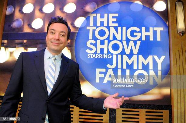 Jimmy Fallon poses during a presentation for the media of the Universal Orlando's Newest Attraction 'Race Through New York Starring Jimmy Fallon' at...