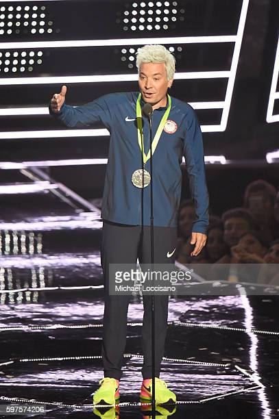 Jimmy Fallon presents onstage during the 2016 MTV Video Music Awards at Madison Square Garden on August 28 2016 in New York City