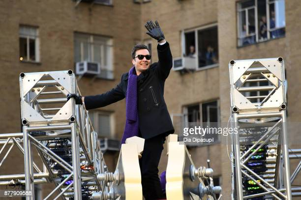 Jimmy Fallon rides in the 91st Annual Macy's Thanksgiving Day Parade on November 23 2017 in New York City