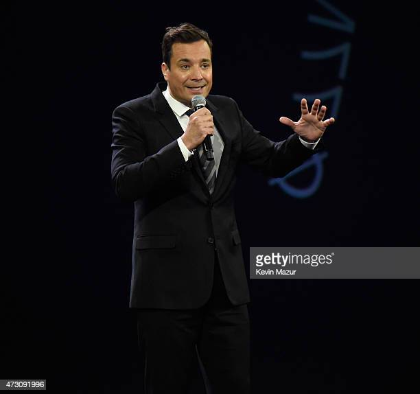Jimmy Fallon speaks onstage at The Robin Hood Foundation's 2015 Benefit at Jacob Javitz Center on May 12 2015 in New York City