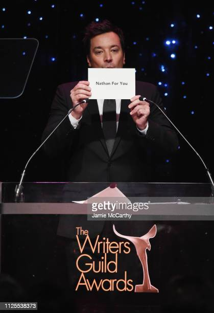 Jimmy Fallon speaks onstage during the 71st Annual Writers Guild Awards New York ceremony at Edison Ballroom on February 17 2019 in New York City