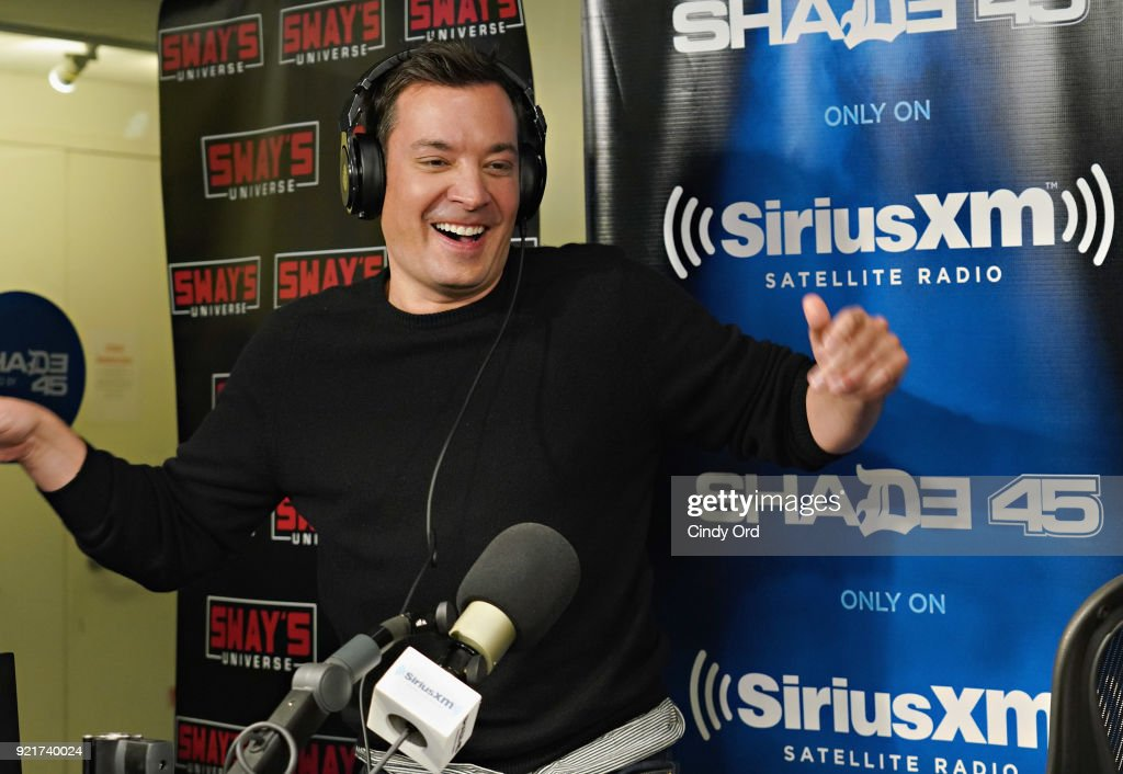 Jimmy Fallon visits 'Sway in the Morning' with Sway Calloway on Eminem's Shade 45 at the SiriusXM Studios on February 20, 2018 in New York City.