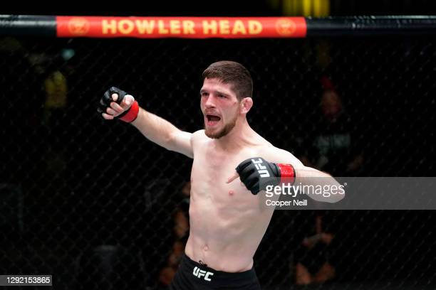 Jimmy Flick reacts after submitting Cody Durden in their flyweight bout during the UFC Fight Night event at UFC APEX on December 19, 2020 in Las...
