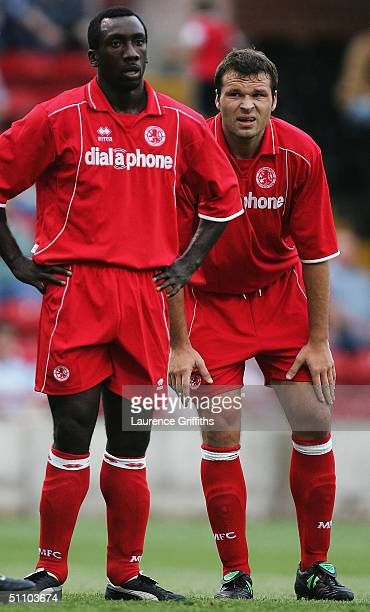Jimmy Floyd Hasselbaink and Mark Viduka of Middlesbrough look on during the Pre Season Friendly match between Rotherham United and Middlesbrough at...
