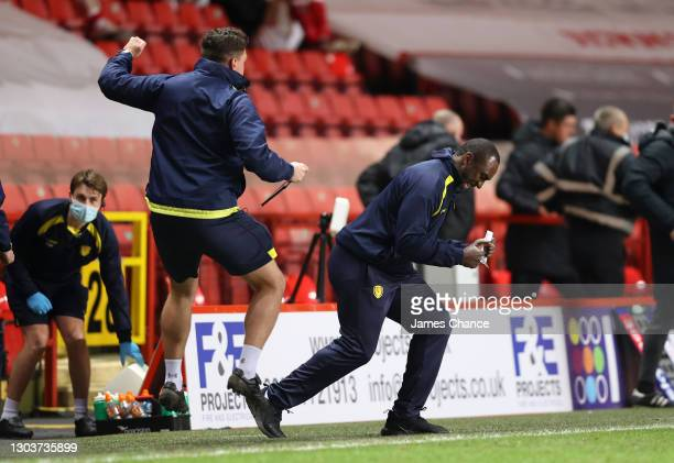 Jimmy Floyd Hasselbaink, Manager of Burton Albion celebrates victory at the final whistle during the Sky Bet League One match between Charlton...