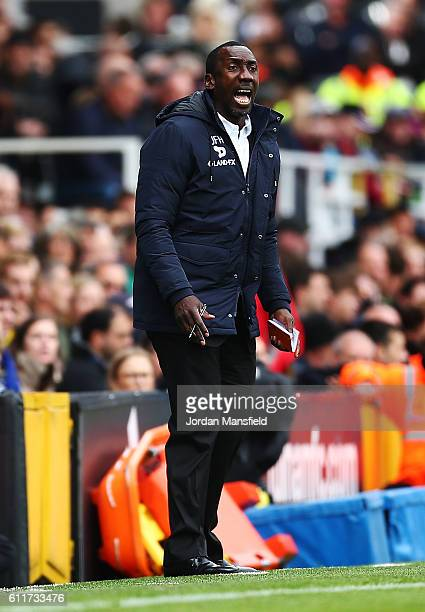 Jimmy Floyd Hasselbaink manager of QPR gestures during the Sky Bet Championship match between Fulham and Queens Park Rangers at Craven Cottage on...