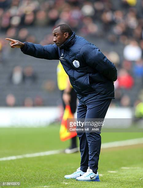 Jimmy Floyd Hasselbaink manager of Queens Park Rangers points during the Sky Bet Championship match between MK Dons and Queens Park Rangers at...