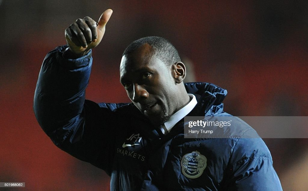 Jimmy Floyd Hasselbaink, Manager of Queens Park Rangers salutes the travelling fans during the Sky Bet Championship match between Bristol City and Queens Park Rangers at Ashton Gate on December 19, 2015 in Bristol, England.
