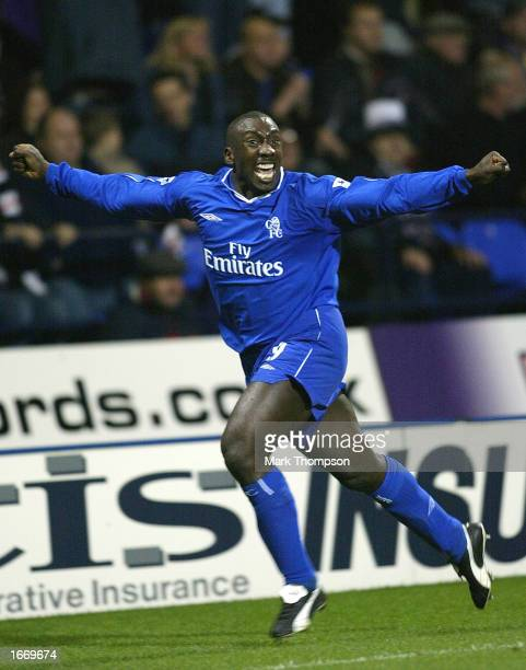 Jimmy Floyd Hasselbaink of Chelsea celebrates scoring during the FA Barclaycard Premiership match between Bolton Wanderers and Chelsea at the Reebok...