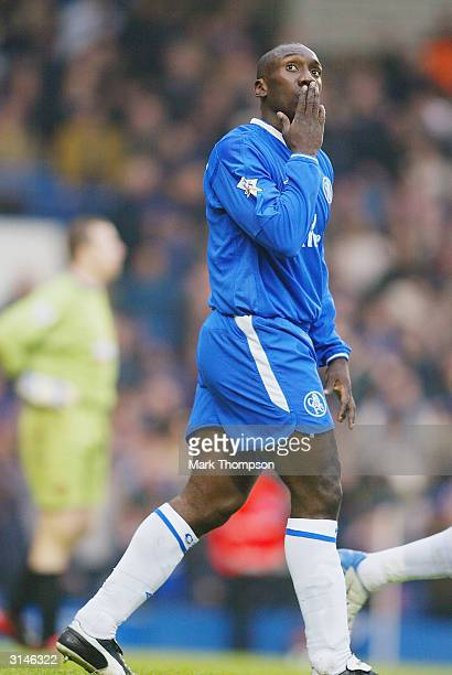 Jimmy Floyd Hasselbaink of Chelsea celebrates scoring the fourth goal against Wolverhampton Wanderers during the FA Barclaycard Premiership match...