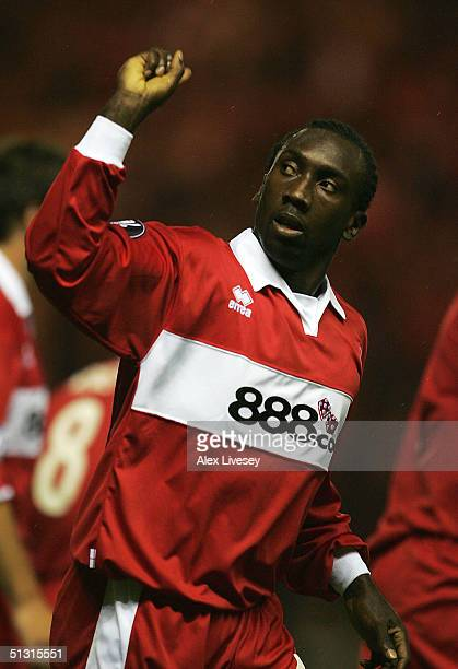 Jimmy Floyd Hasselbaink of Middlesbrough celebrates his goal during the UEFA Cup first round, first leg match between Middlesbrough and Banik Ostrava...
