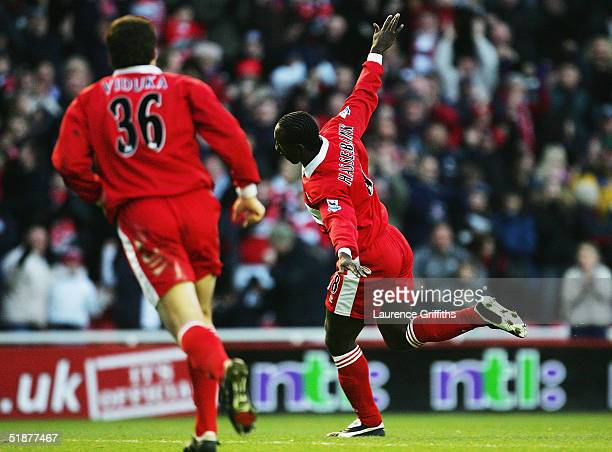 Jimmy Floyd Hasselbaink of Middlesbrough celebrates his goal during the FA Barclays Premiership match between Middlesbrough and Aston Villa at The...