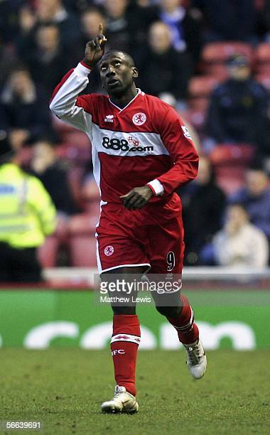Jimmy Floyd Hasselbaink of Middlesbrough celebrates his goal during the Barclays Premiership match between Middlesbrough and Wigan Athletic at the...