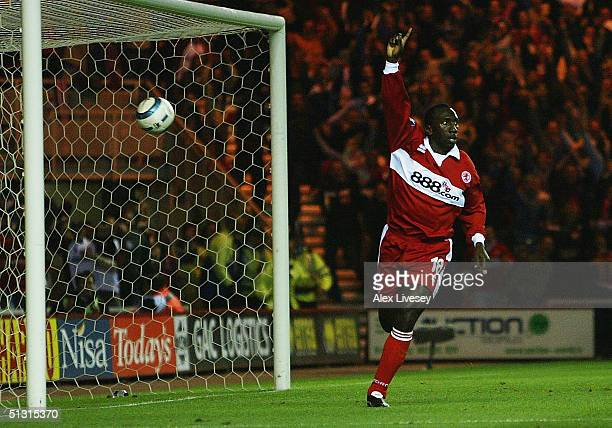 Jimmy Floyd Hasselbaink of Middlesbrough celebrates scoring the first goal during the UEFA Cup first round, first leg match between Middlesbrough and...