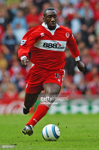 Jimmy Floyd Hasselbaink of Middlesbrough in action during the Barclays Premiership match between Middlesbrough and Tottenham Hotspur at the Riverside...